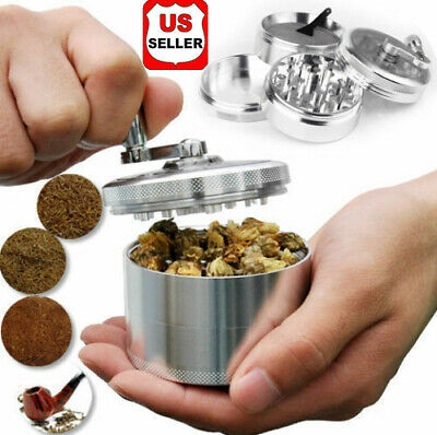 "Herb Grinder Crusher for Tobacco 4 Piece 2"" Zinc Alloy Hand Muller Spice Silver"