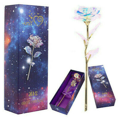 24K Gold Plated Galaxy Rose Valentine's Day XMAS Gift Girlfriend Wife Present UK