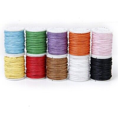 10 Rolls Color Mixed Cord Cotton Wax String 1mm wire for Pearl E7N5