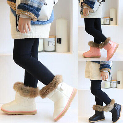 Kids Girls Warm Snow Boots Winter Grip Sole Fur Lined Leather Ankle Boots Size