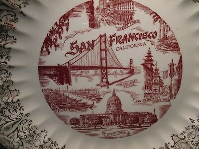 Vintage Souvenir Plate San Francisco market st china town city hall wharf market