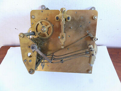 Found  Antique Brass Windup 4 Arm Gong Clock Movement