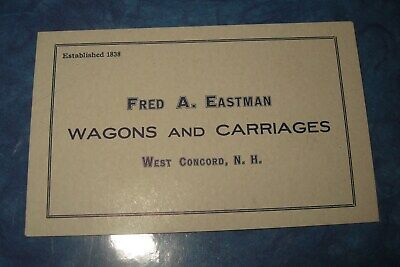 1901 Business Trade Card Blot EASTMAN Buggy Wagons Carriages Coaches Concord NH