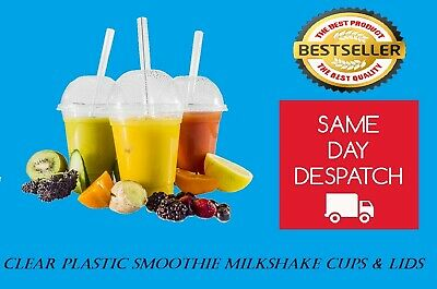 Disposable Clear plastic Smoothie/ Milkshake/Juice Cups and Domed Lids 10 oz