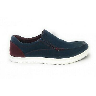 Mens Lotus Crossley Blue Red Denim Canvas Loafer Slip On Shoe