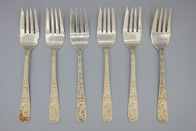 "S. Kirk & Son / Kirk Stieff Repousse Sterling Silver Salad Forks, 6.25"" Set of 6"