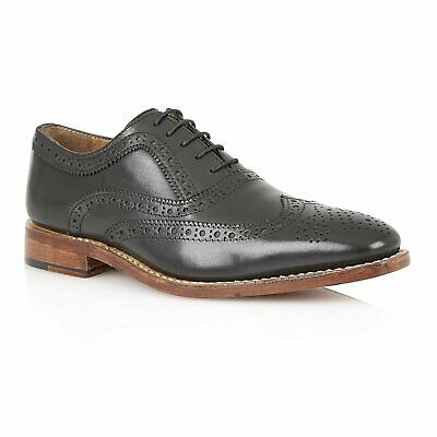 Mens Lotus Harry Black Leather Brogues Wingtip Lace Up Shoes