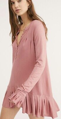 Free People OB655080 Your Girl Flounce Hem Henley Knit Tunic Dusty Lavender $78