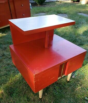 Kent Coffey Mid Century Modern 1950s The Futura End table Red Enamel