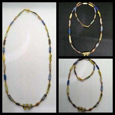 Ancient rare Antique Roman lovely mixed color glass bead Beads Necklace Top Bead