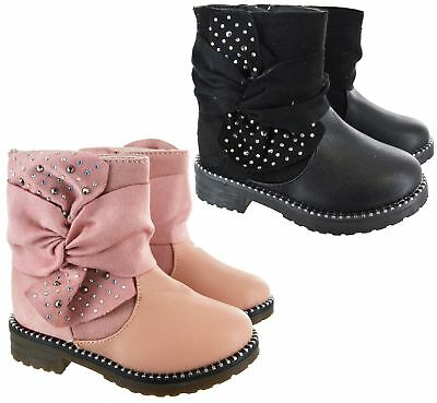 Infants Childrens Kids Girls Winter Ankle Studded Shoes Fancy Winter Warm Boots