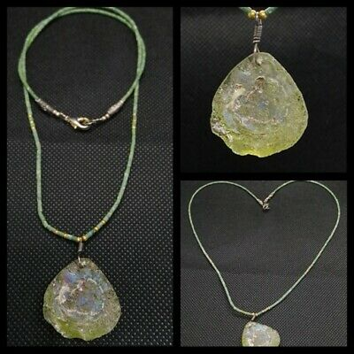 Ancient Roman Glass Pendant Antiques Old Rare Beautiful Beads With Jade Beads