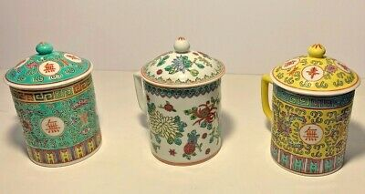 Vintage Chinese Porcelain famille Rose Flower Mugs Teacups - Set Of 3