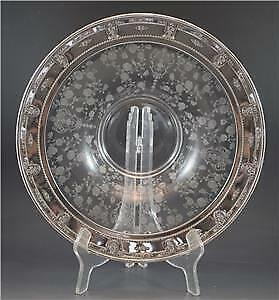 Antique Crystal Glass & Sterling Silver Rimmed Center or Console Bowl by Wallace