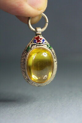 Gorgeous Ancient Miao Silver Carving Flower Inlay Yellow Bead Fashion Pendant