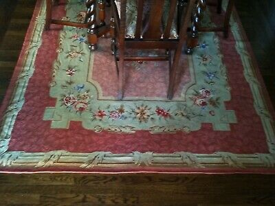 "Excellent Condition Aubusson Wool French Needlepoint Handmade Rug 70"" By 106"""