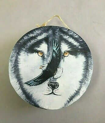 """Hand Painted Rawhide Drum , Samll , Crafts , Southwest , Real Hide , 7"""" Wolf"""