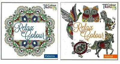 2 x Anti Stress Adult Colour Therapy Colouring Books Book Animal & Pattern New