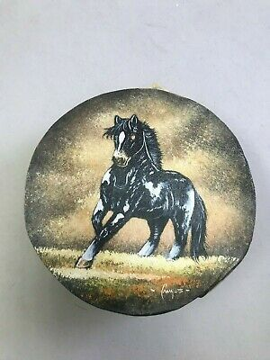 """Hand Painted Rawhide Drum , Samll , Crafts , Southwest , Real Hide , 7"""" Horse 5"""