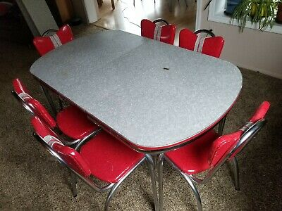 Kuehne VTG Mid Century CHROME DINETTE 6 DINING CHAIRS & TABLE SET Red damaged
