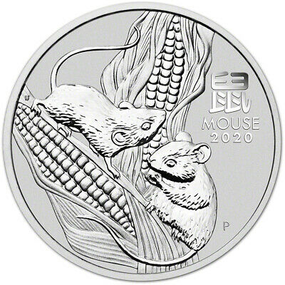 2020 P Australia Silver Lunar Year of the Mouse 2 oz $2 - BU