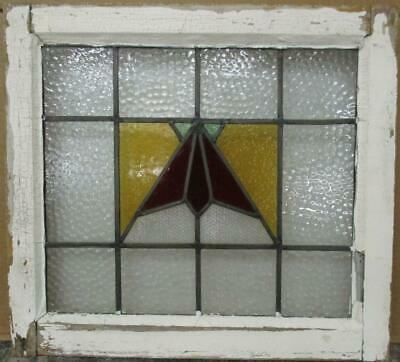 "OLD ENGLISH LEADED STAINED GLASS WINDOW Pretty Geometric Fan 21.5"" x 19.75"""