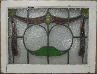 "MIDSIZE OLD ENGLISH LEADED STAINED GLASS WINDOW Pretty Swag Design 25"" x 19.25"""