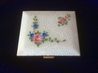 Vintage Powder Compact White Guilloche Enamel Pink Roses & Flowers Hand Painted