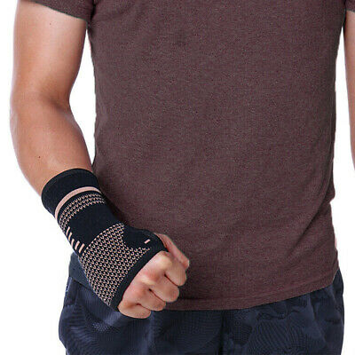 Copper Wrist Brace Compression Gloves Carpal Tunnel Support Hand Arthritis