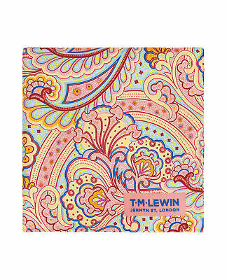 T.M.Lewin Mens Pink and Yellow Paisley Silk Pocket Square