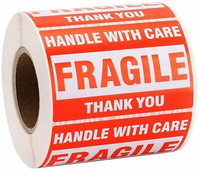 """1 Roll 500 FRAGILE Shipping Label Stickers 2x3"""" Handle With Care Caution Warning"""