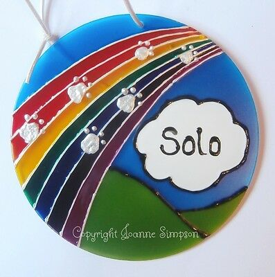 Pet memorial. Rainbow Bridge sun catcher. Hand painted and personalised