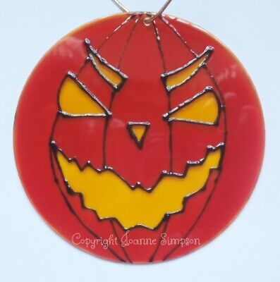 Halloween Pumpkin sun catcher. Hand painted and personalised