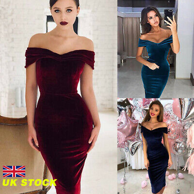Womens Velvet Bardot Off Shoulder Prom Evening Party Club Cocktail Bodycon Dress