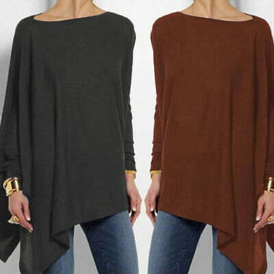 Womens Batwing Sleeve Baggy Jumper Loose Pullover Shirts Tops Blouse Size 12-18