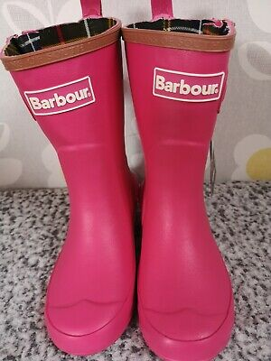 Girls BNWT Barbour Pink Wellies Wellington Boots Size 11 Kids