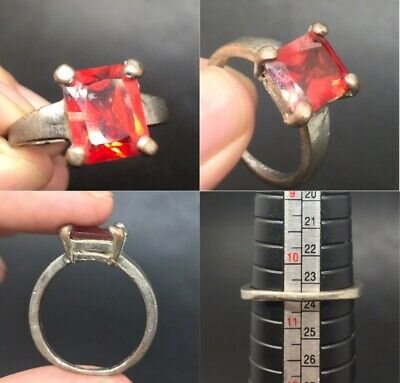 Beautiful ring with natural red shining stone lovely ring