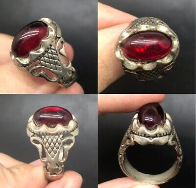 Wonderful unique post medieval old red garnet stone silver plated old ring