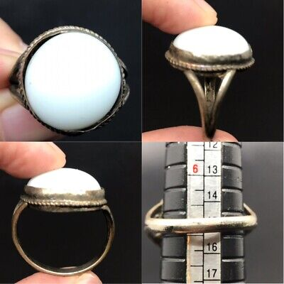 Extremely ancient old ring with wonderful old white stone
