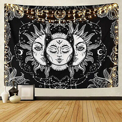 Sun and Moon Tarot Psychedelic Tapestry Bohemian Hippie Wall Hanging Home Decor