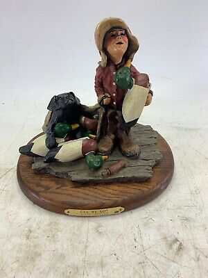 """Ducks Unlimited """" Can We Go"""" Display Figure With Wooden Base"""