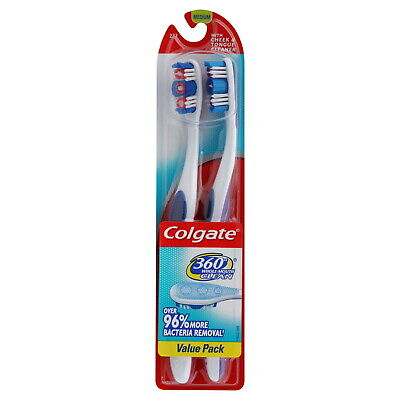 Colgate 360 Degree Adult Full Head, Medium Twin Toothbrush, 2 Count (Pack of 2)