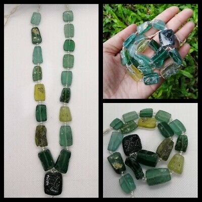 Ancient rare Antique Roman lovely mixed color glass  Beads Necklace Roman Glass