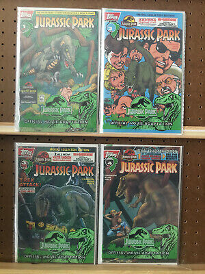 Jurassic Park 1 2 3 4 Complete Series Topps Comics 1993 Polybagged with Cards