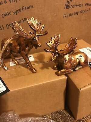 Moose Resin Christmas Ornament With Copper Finish Set Of 2