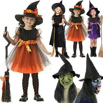 Kid Witch Halloween Fancy Dress incl Hat Mask Horror Party Dress Cosplay Costume