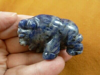 (Y-BUF-731) Blue Sodalite BUFFALO ranch bison gemstone carving figurine calf