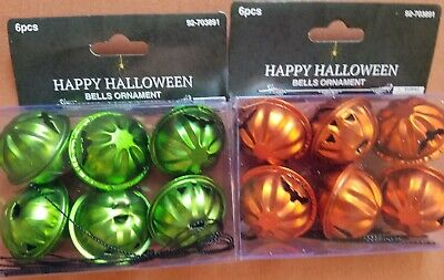 NIP 12 Halloween Pumpkin Bell Mini Metal Tree Ornaments Set of 6 Green 6 Orange