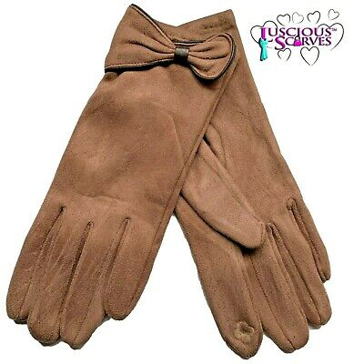 Tan Brown Gloves ,Faux Suede Brown Faux Leather Trim Bow Soft Warm ,Touch Screen