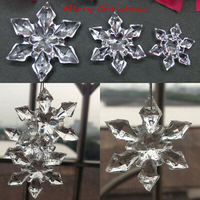 10/20X Clear Acrylic Crystal Hanging Snowflake Christmas Tree Hanging Decoration